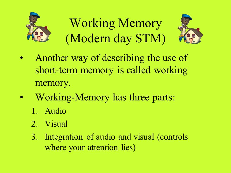 Working Memory (Modern day STM)