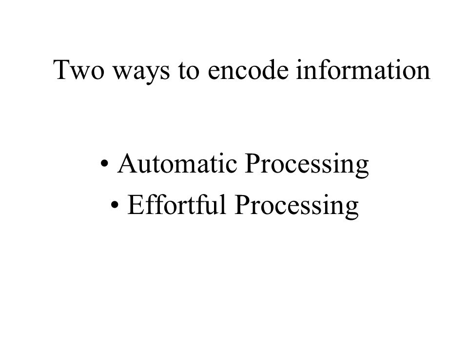 Two ways to encode information