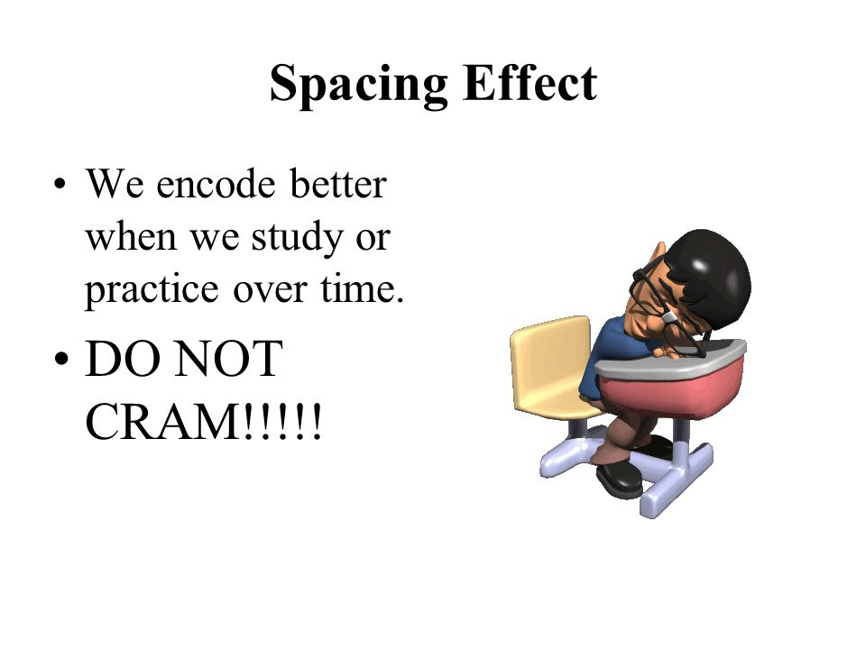 Spacing Effect DO NOT CRAM!!!!!