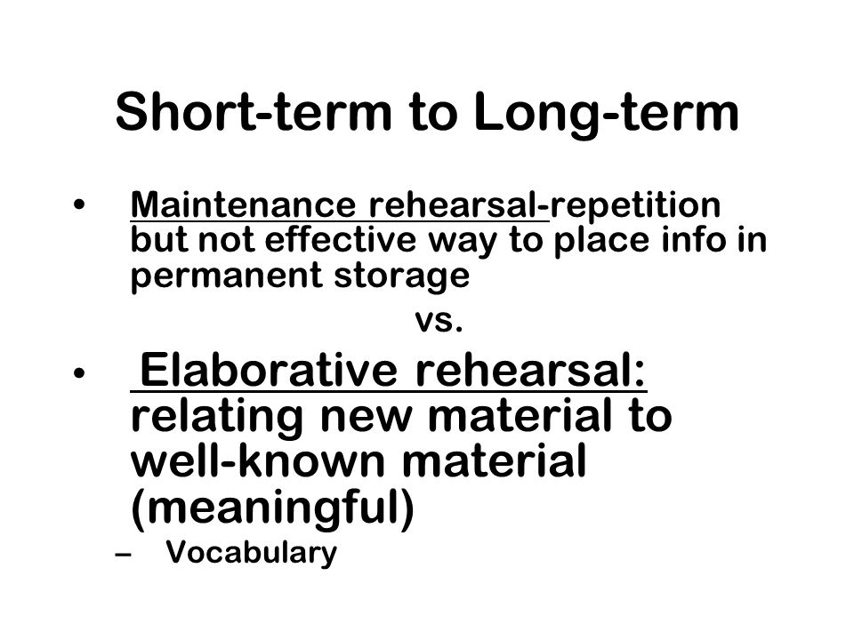 Short-term to Long-term
