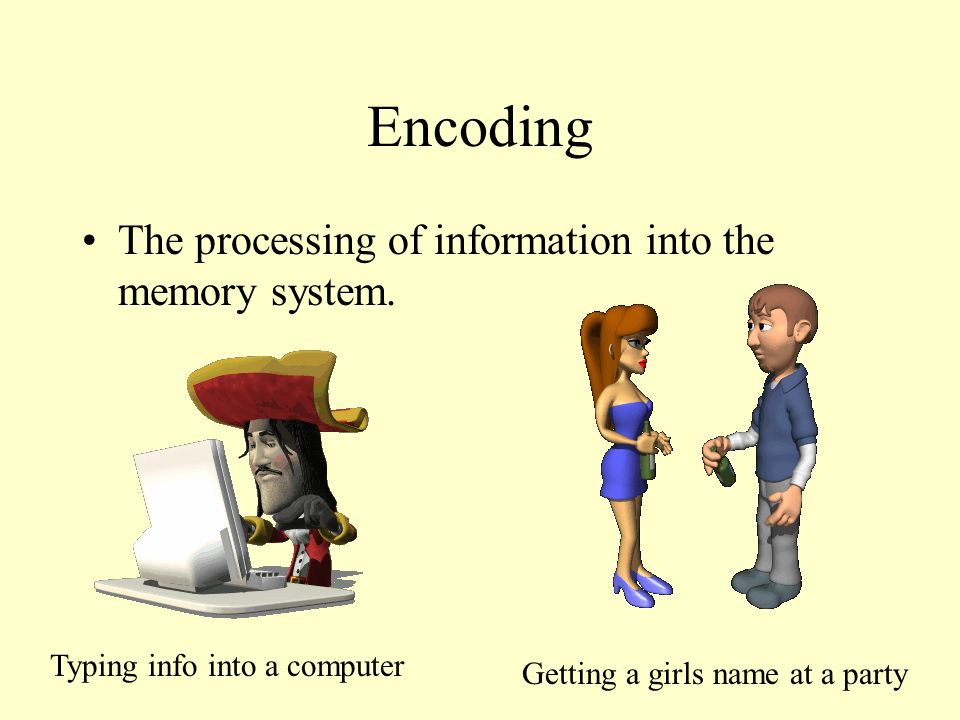 Encoding The processing of information into the memory system.