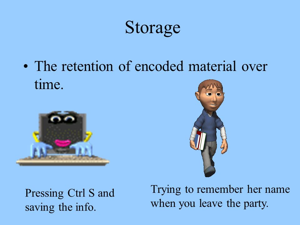 Storage The retention of encoded material over time.