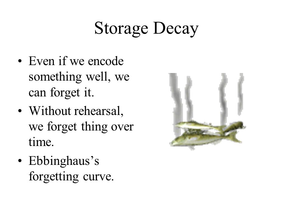 Storage Decay Even if we encode something well, we can forget it.