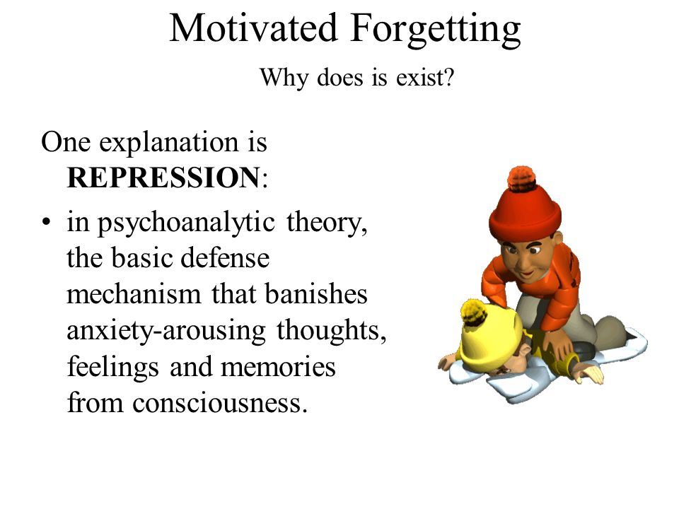 Motivated Forgetting One explanation is REPRESSION: