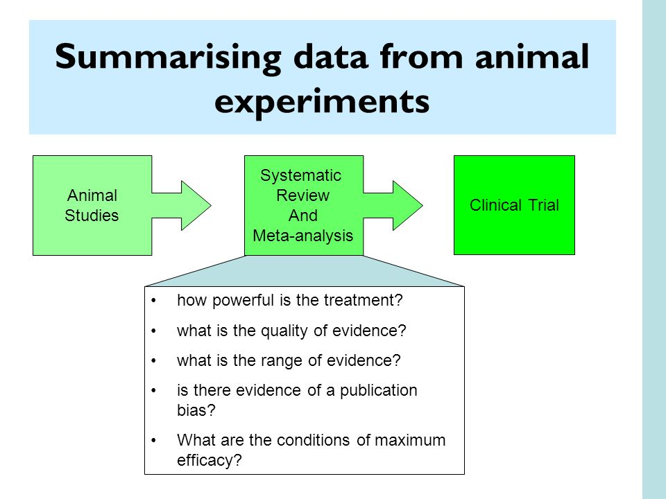 Summarising data from animal experiments