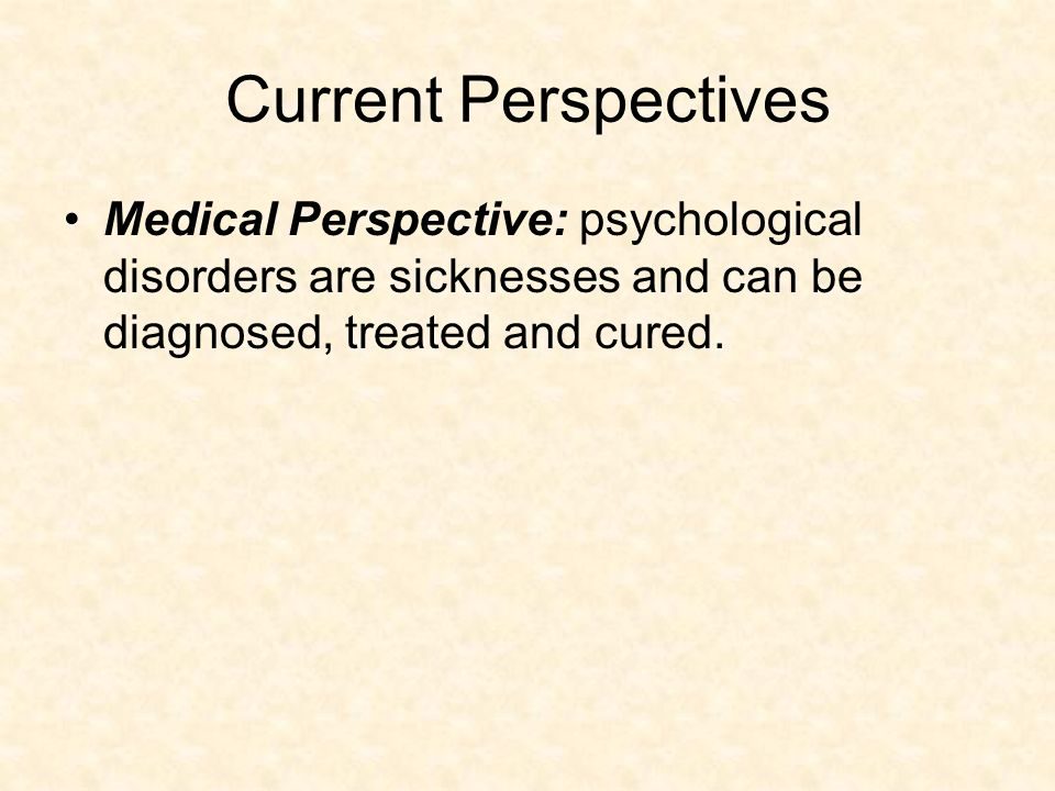 somatogenic perspective and psychogenic perspectives The examples and perspective in this section may not represent a  somatogenic – abnormality is seen as a result of  perspectives of abnormal psychology edit.