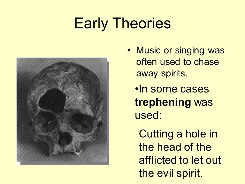 Early Theories In some cases trephening was used: