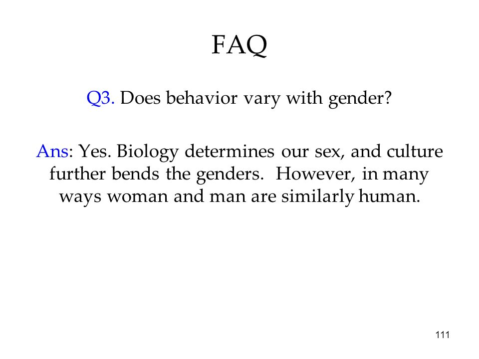 Q3. Does behavior vary with gender