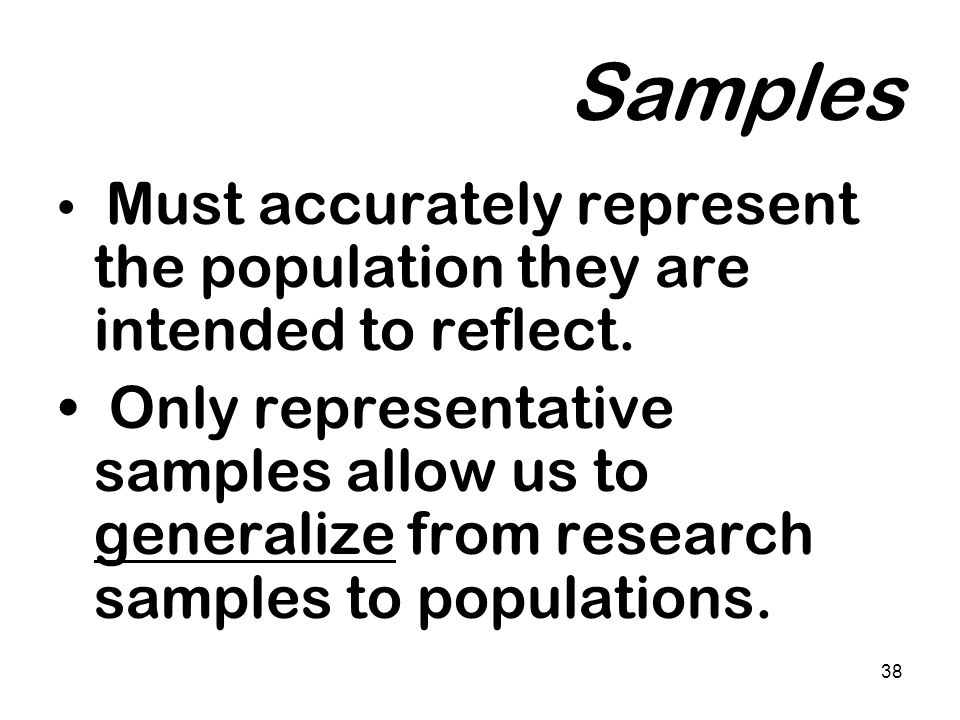 Samples Must accurately represent the population they are intended to reflect.
