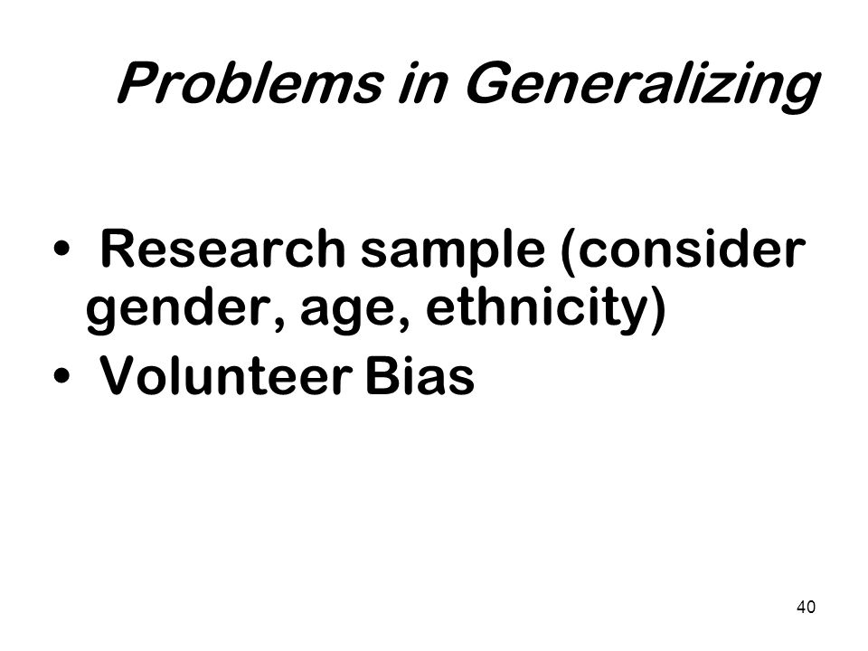 Problems in Generalizing