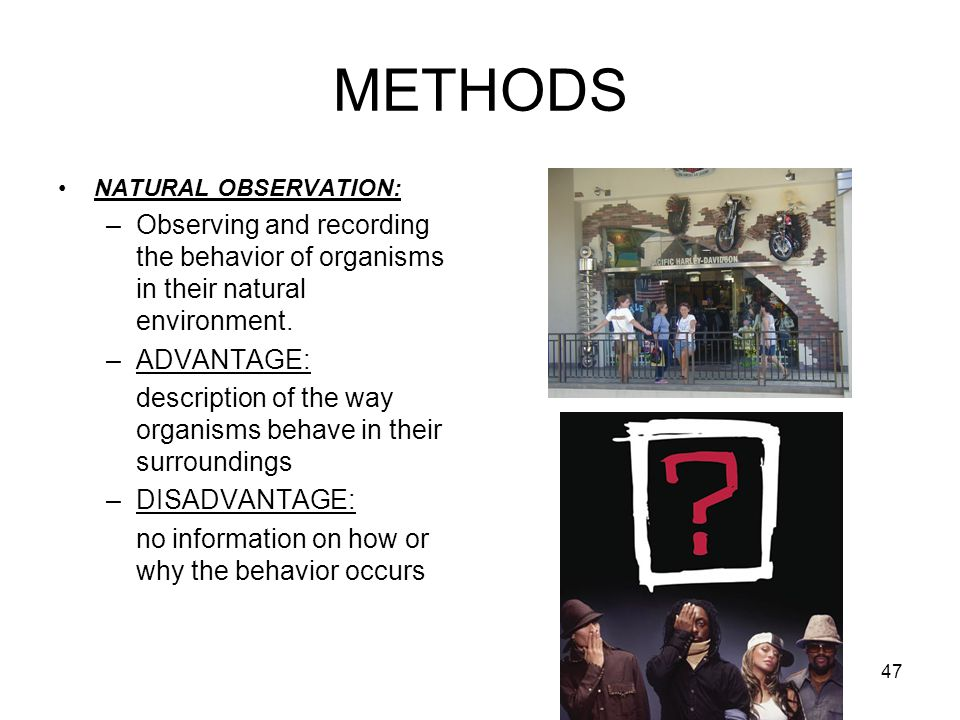 METHODS NATURAL OBSERVATION: Observing and recording the behavior of organisms in their natural environment.