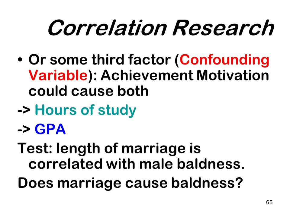 Correlation Research Or some third factor (Confounding Variable): Achievement Motivation could cause both.