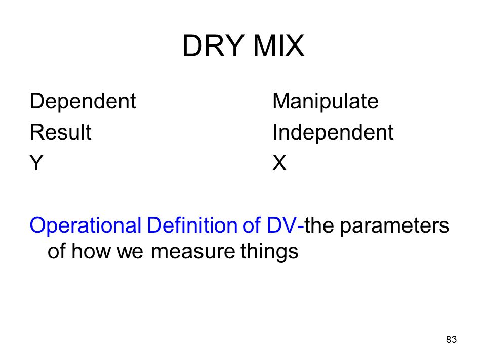 DRY MIX Dependent Manipulate Result Independent Y X
