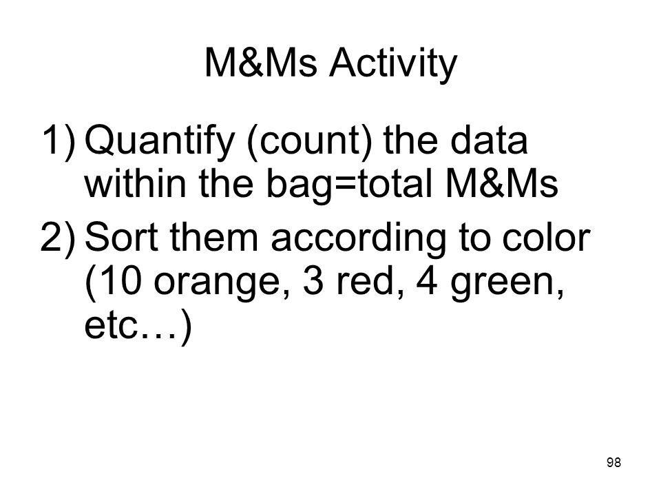 Quantify (count) the data within the bag=total M&Ms