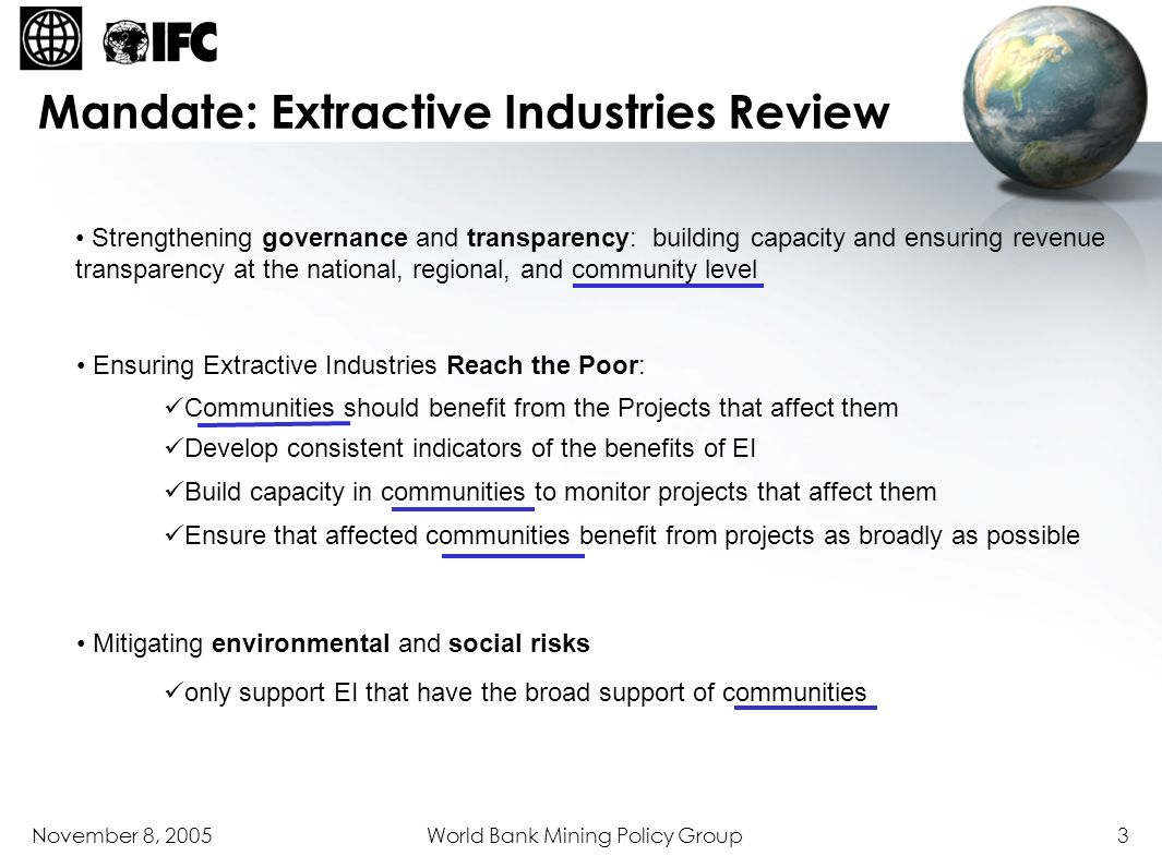 Mandate: Extractive Industries Review