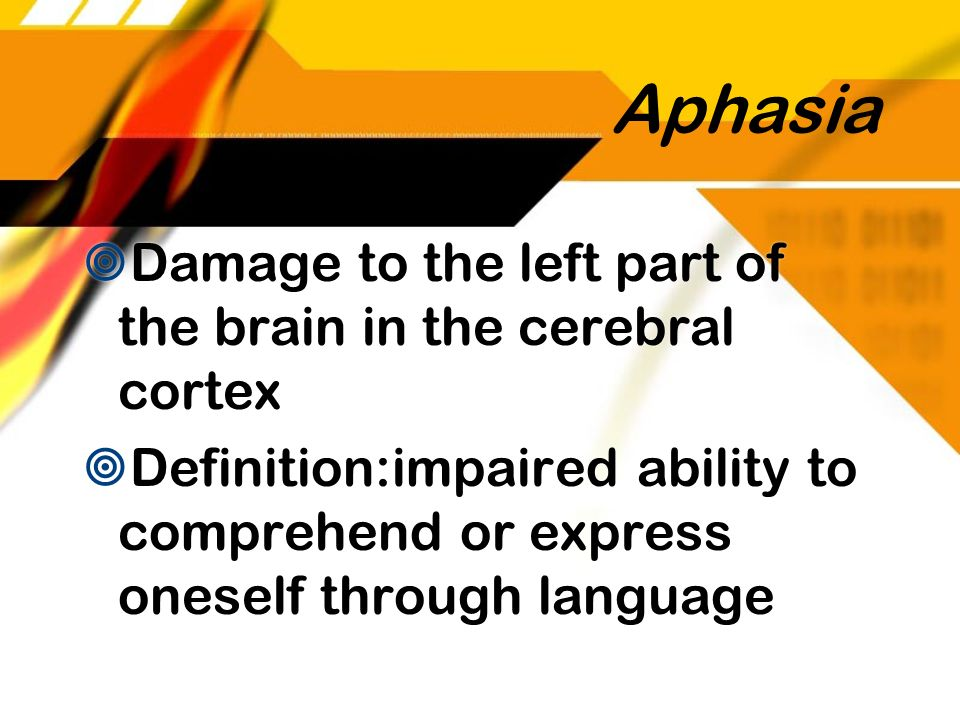 Aphasia Damage to the left part of the brain in the cerebral cortex