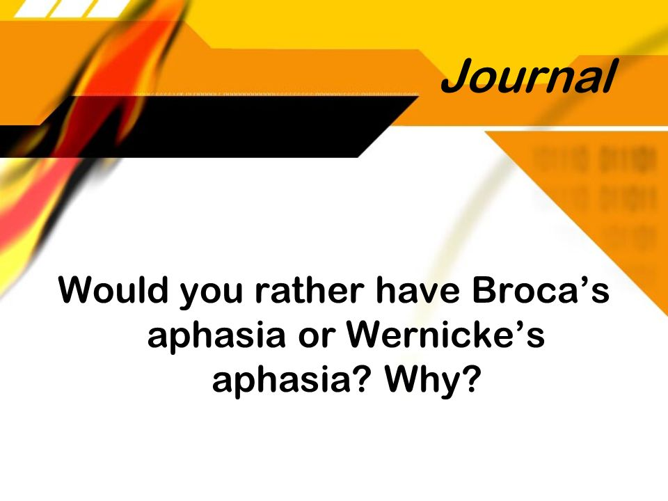 Would you rather have Broca's aphasia or Wernicke's aphasia Why