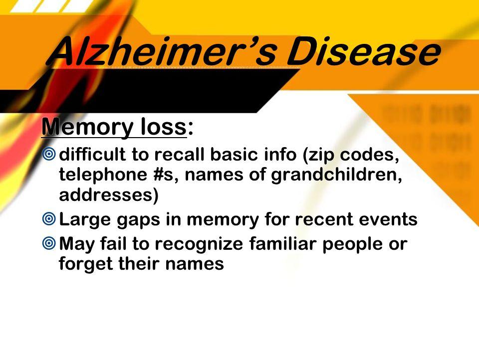 Alzheimer's Disease Memory loss: