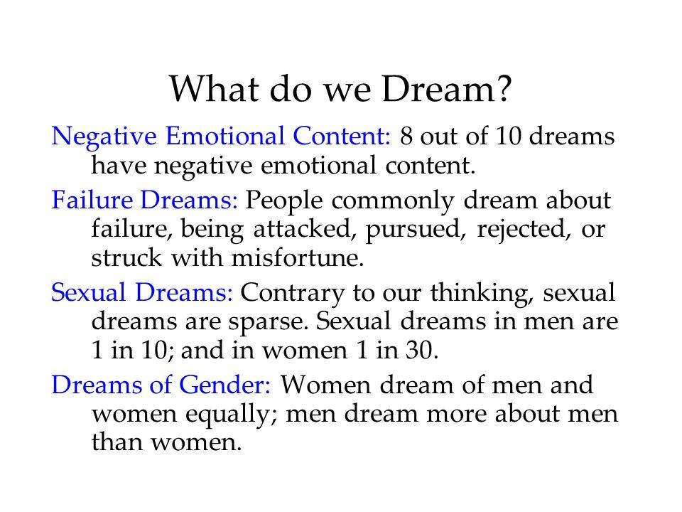 What do we Dream Negative Emotional Content: 8 out of 10 dreams have negative emotional content.