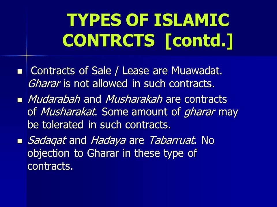 TYPES OF ISLAMIC CONTRCTS [contd.]