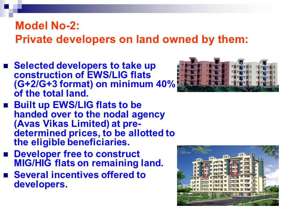 Model No-2: Private developers on land owned by them: