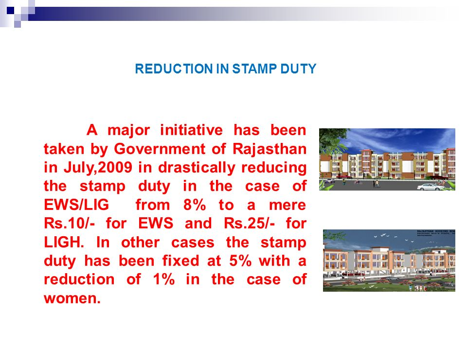 REDUCTION IN STAMP DUTY