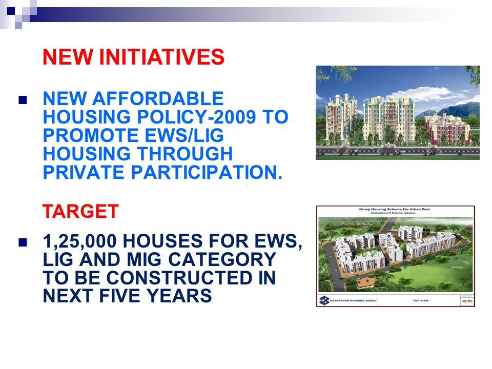 NEW INITIATIVESNEW AFFORDABLE HOUSING POLICY-2009 TO PROMOTE EWS/LIG HOUSING THROUGH PRIVATE PARTICIPATION.