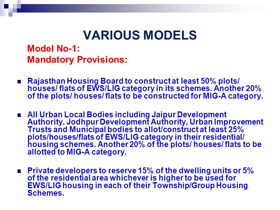 VARIOUS MODELS Model No-1: Mandatory Provisions: