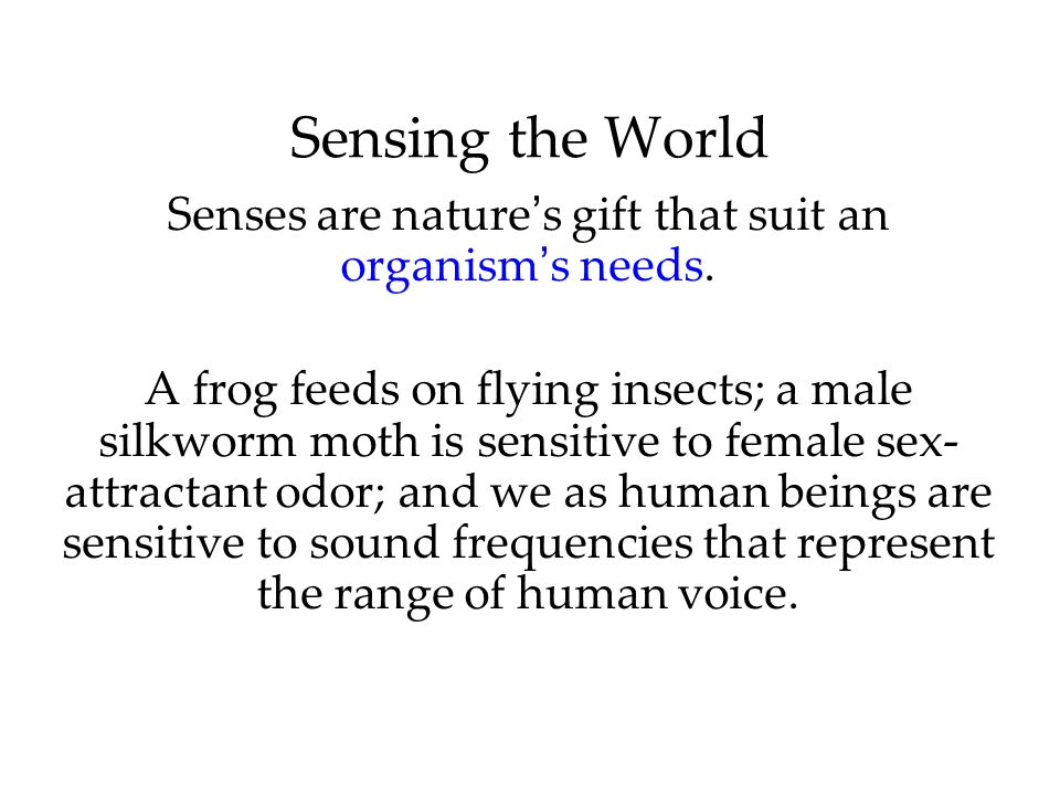 Senses are nature's gift that suit an organism's needs.