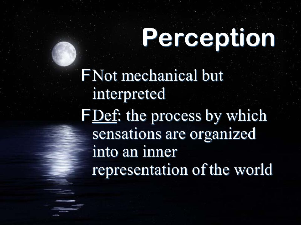 Perception Not mechanical but interpreted