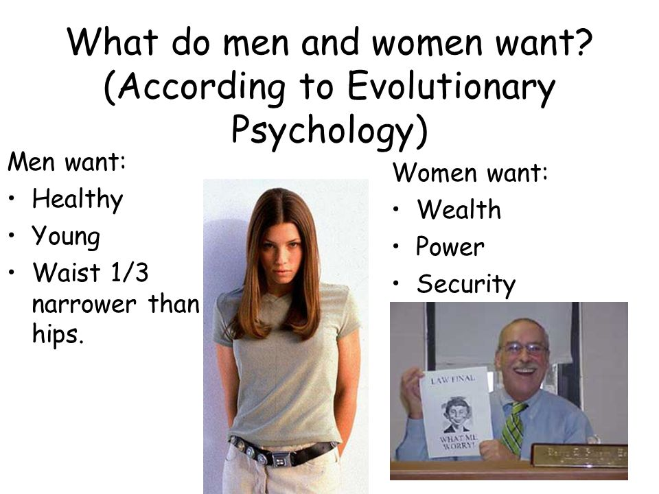 What do men and women want (According to Evolutionary Psychology)