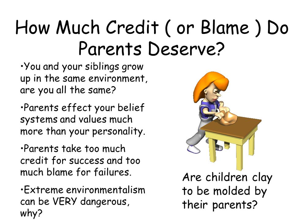 How Much Credit ( or Blame ) Do Parents Deserve