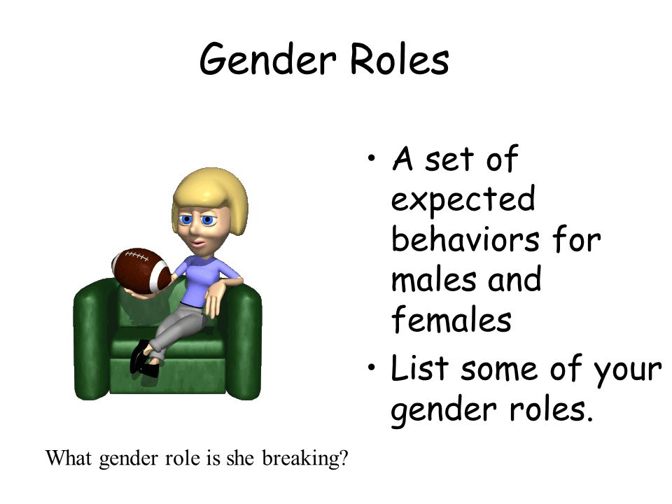 Gender Roles A set of expected behaviors for males and females