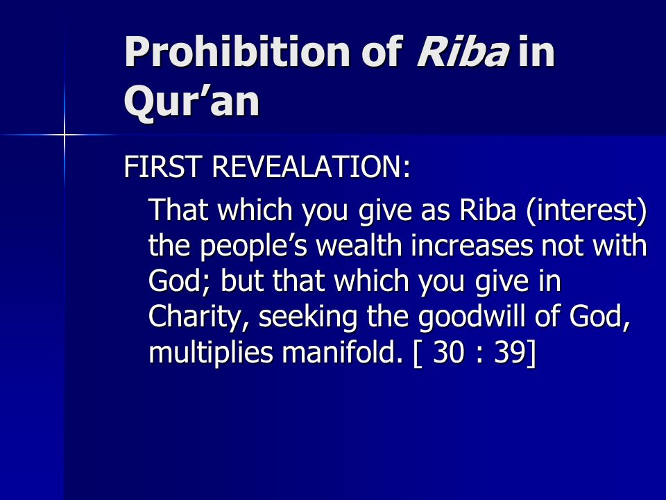 Prohibition of Riba in Qur'an