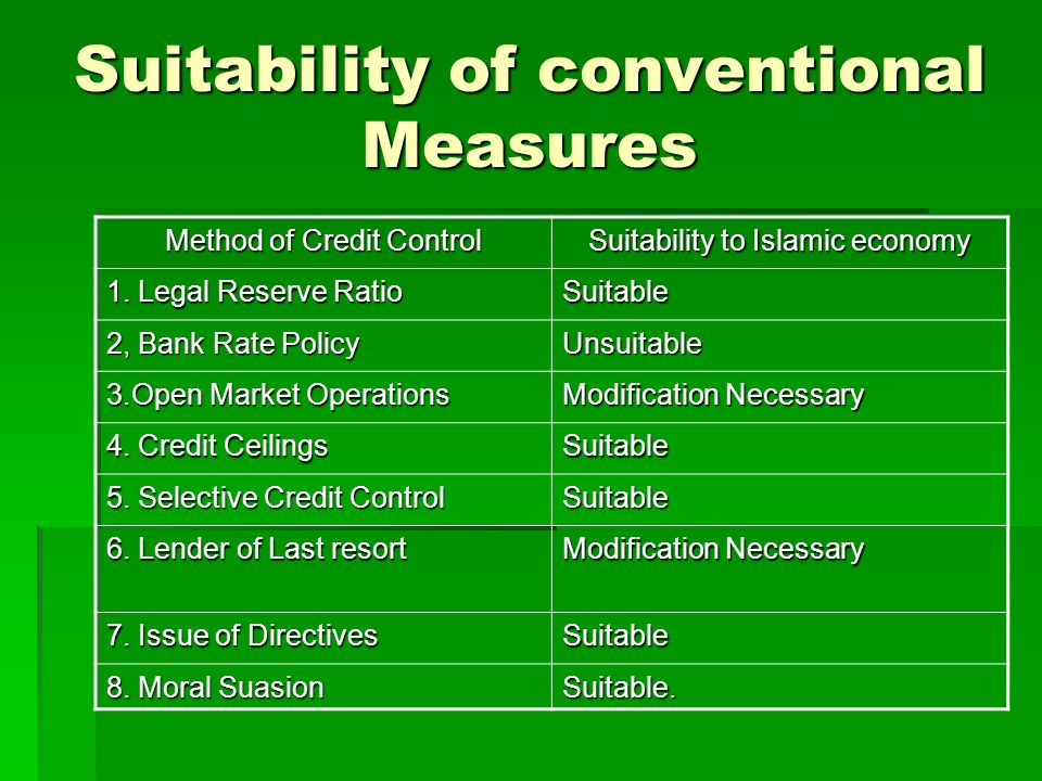 Suitability of conventional Measures
