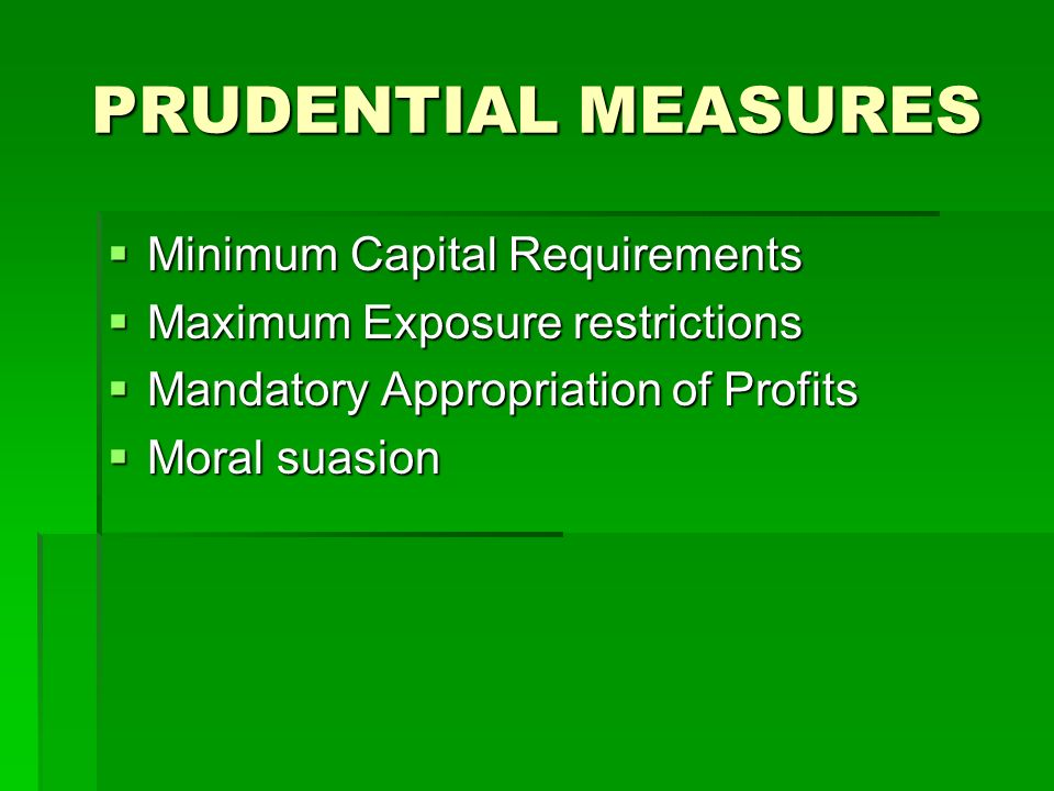 PRUDENTIAL MEASURES Minimum Capital Requirements