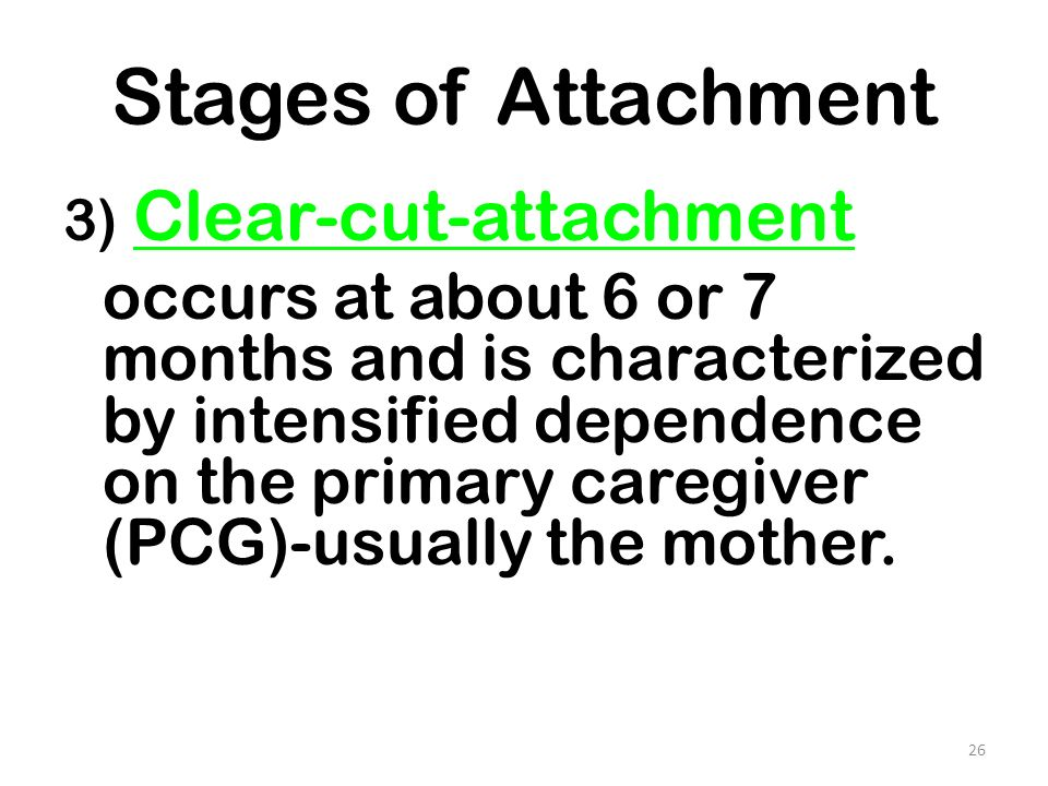 Stages of Attachment 3) Clear-cut-attachment.