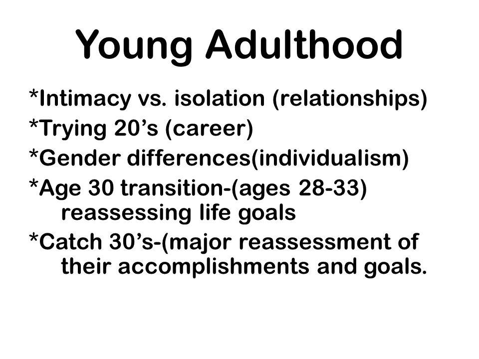 Young Adulthood *Intimacy vs. isolation (relationships)
