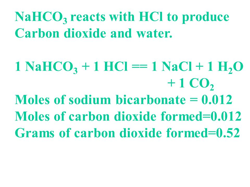 NaHCO3 reacts with HCl to produce