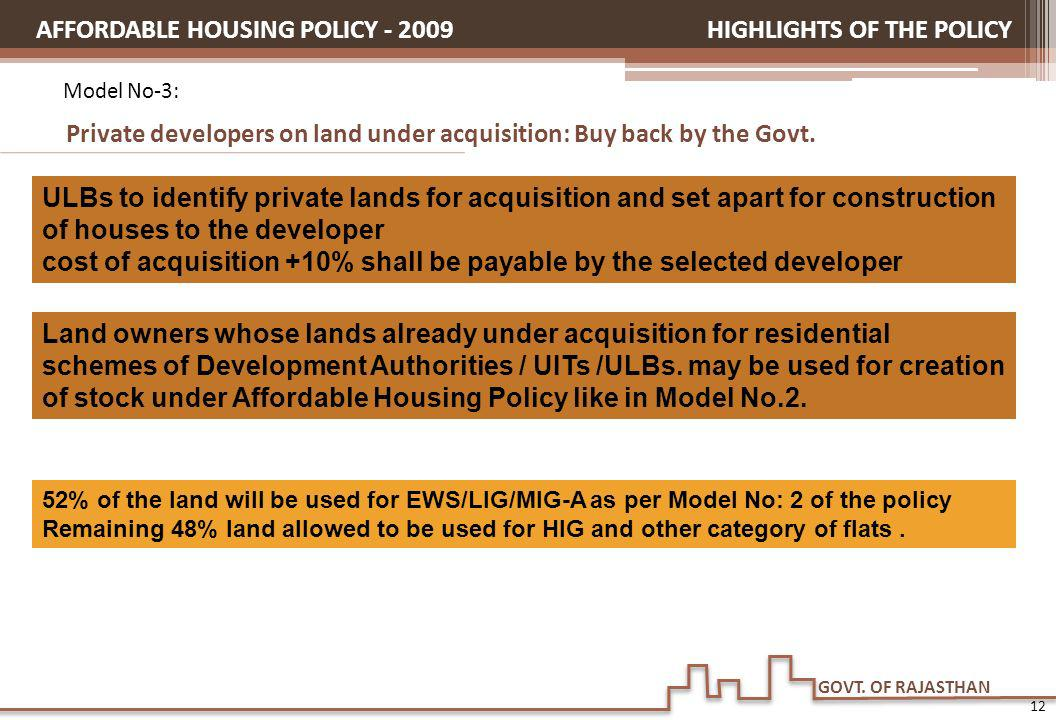 AFFORDABLE HOUSING POLICY - 2009 HIGHLIGHTS OF THE POLICY