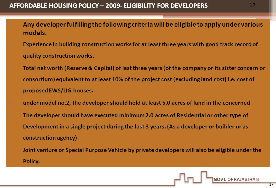 AFFORDABLE HOUSING POLICY – 2009- ELIGIBILITY FOR DEVELOPERS