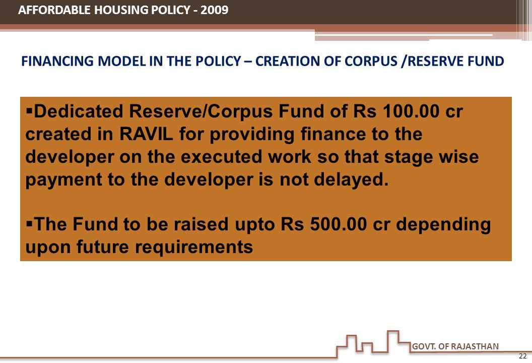 FINANCING MODEL IN THE POLICY – CREATION OF CORPUS /RESERVE FUND