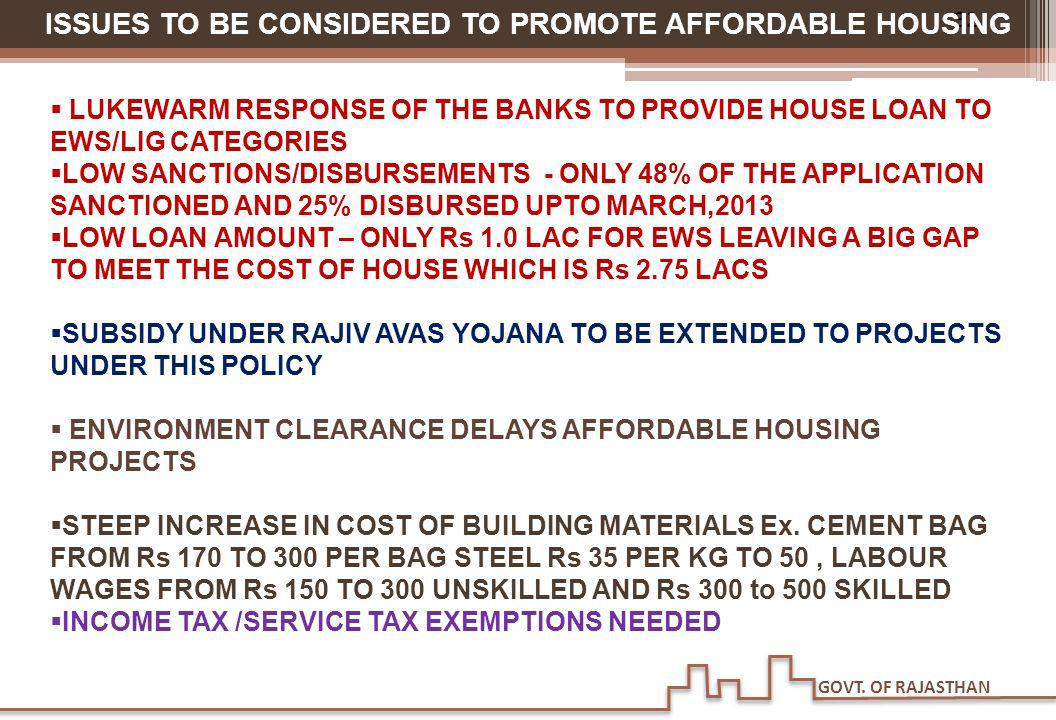 ISSUES TO BE CONSIDERED TO PROMOTE AFFORDABLE HOUSING