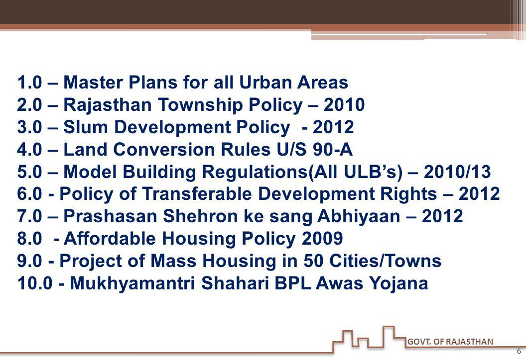 1. 0 – Master Plans for all Urban Areas 2