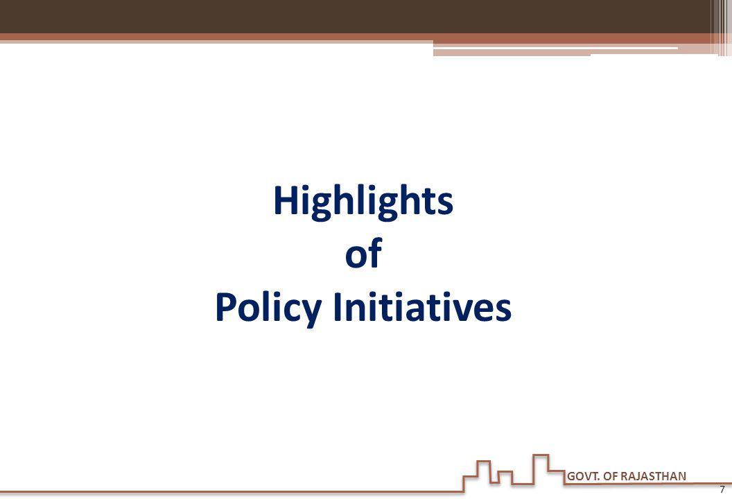 Highlights of Policy Initiatives