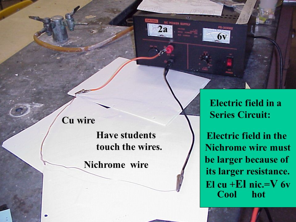 2a 6v. Electric field in the. Nichrome wire must. be larger because of. its larger resistance. El cu +El nic.=V 6v.