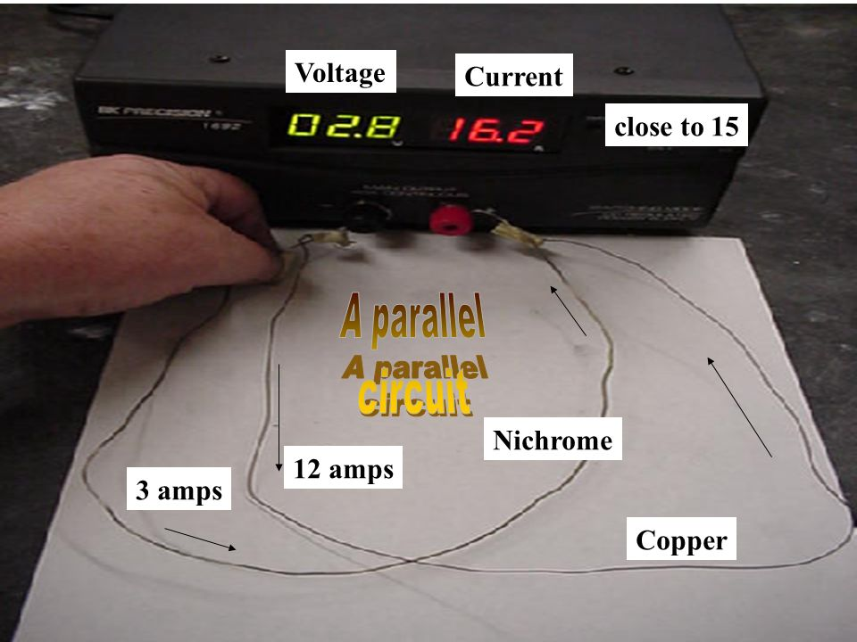 A parallel circuit Voltage Current close to 15 Nichrome 12 amps 3 amps