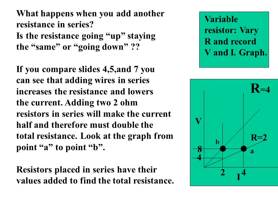 . . R=4 What happens when you add another resistance in series