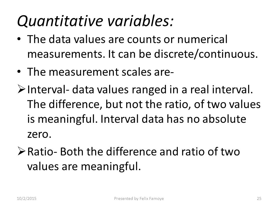 illustrate how the data can be presented as ratio interval ordinal and nominal data Precision uses and abuses of statistics types of data qualitative quantitative: discrete vs continuous levels of measurement: nominal, ordinal, interval, ratio homework the term statistics has several basic meanings first, statistics is a subject or field of study closely related to mathematics this four week, sixteen.