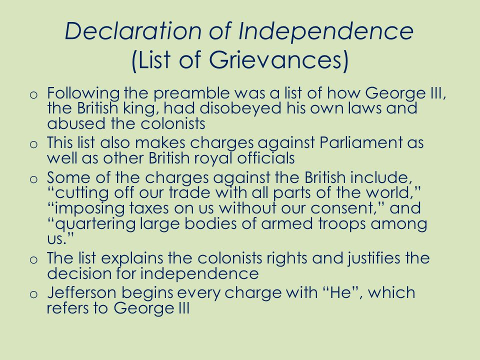 What are the grievances against King George III?